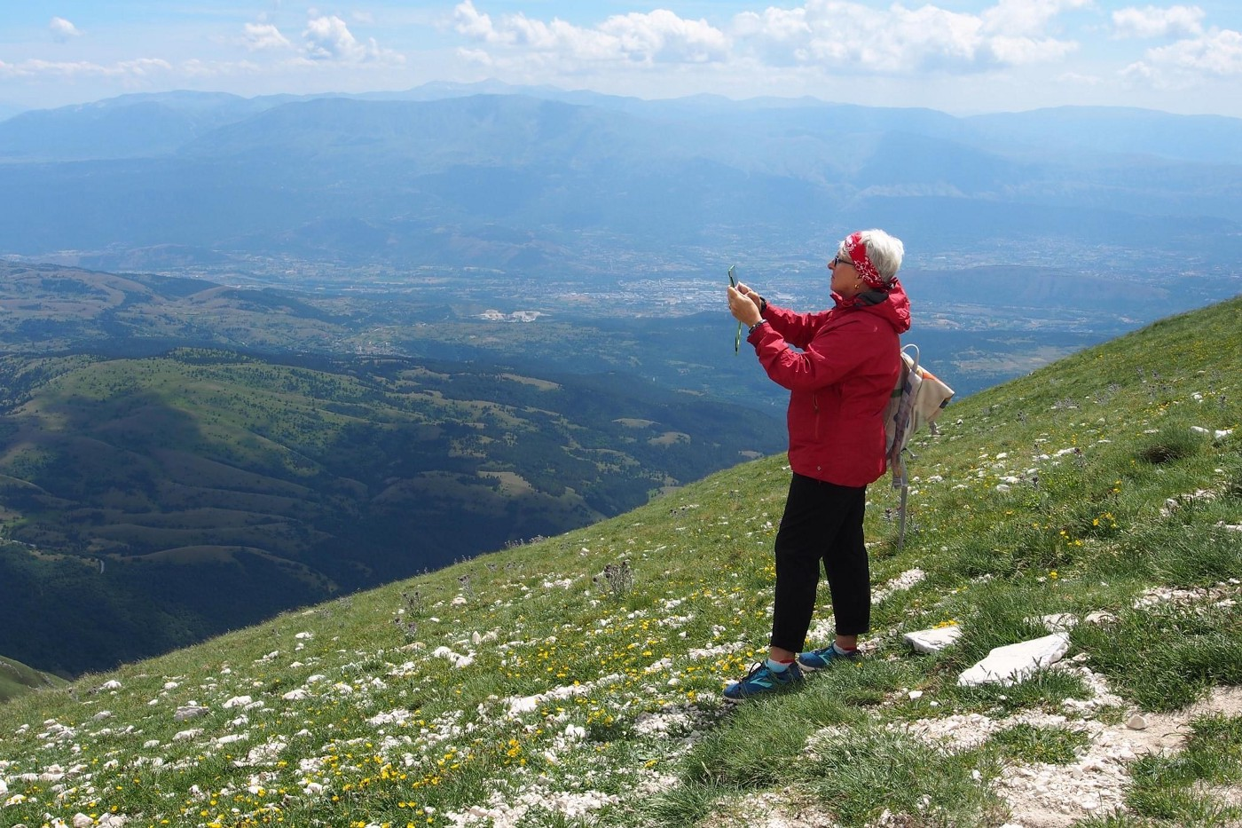 The author taking a photo in Abruzzo Italy.