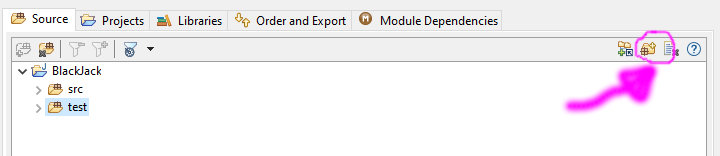 """Detail of """"page 2"""" of the Eclipse New Java Project wizard, with the new source folder icon highlighted."""