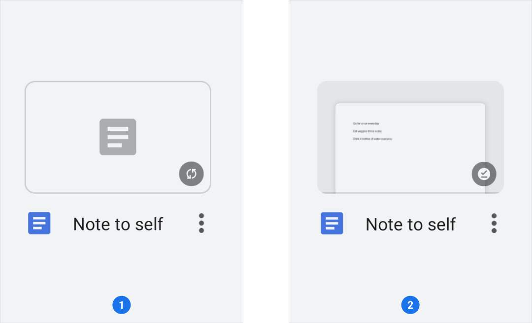 Note to self with overflow menu and notes icons