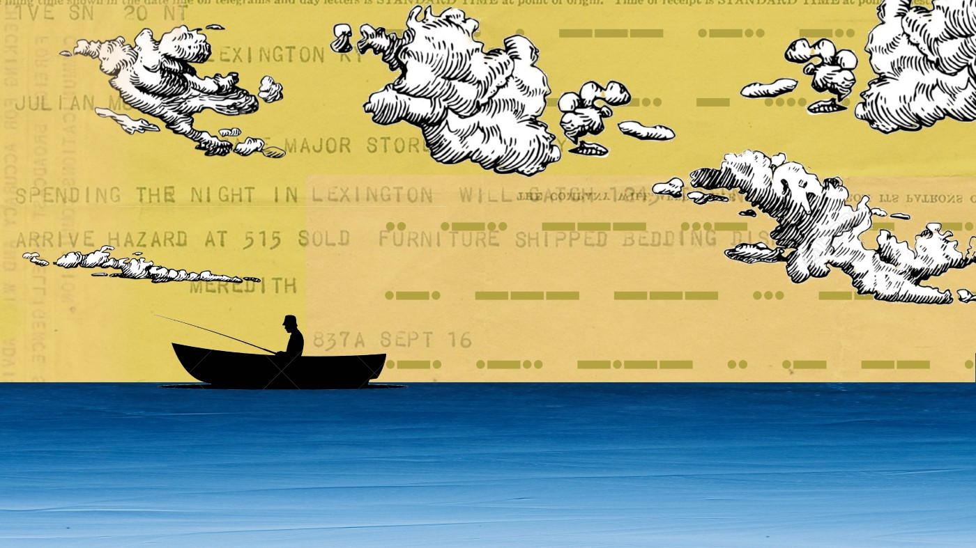 A sillhouette of a fisherman on the ocean with clouds rolling by and a telegram-yellow sky.