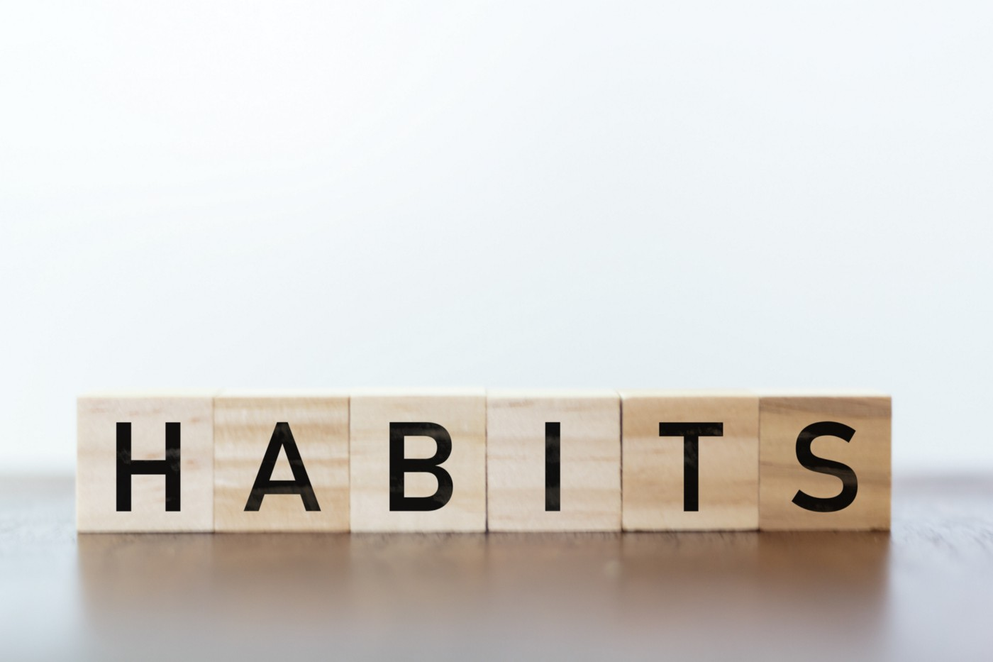 """Blocks spelling out """"habits""""."""