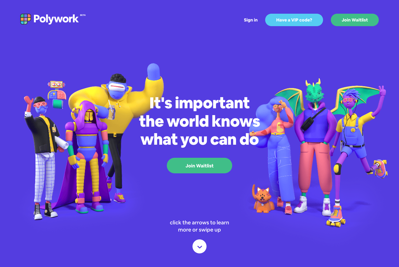 Landing page for Polywork