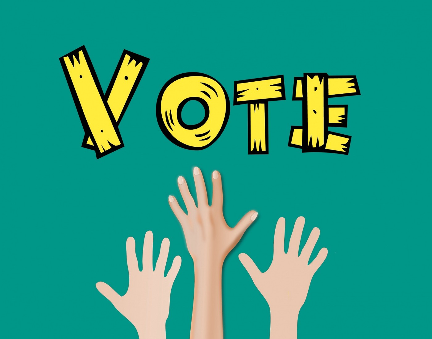 """Image of """"Vote"""" with three hands of different color shades reaching up toward it. Public domain image via Mohamed Hassan."""