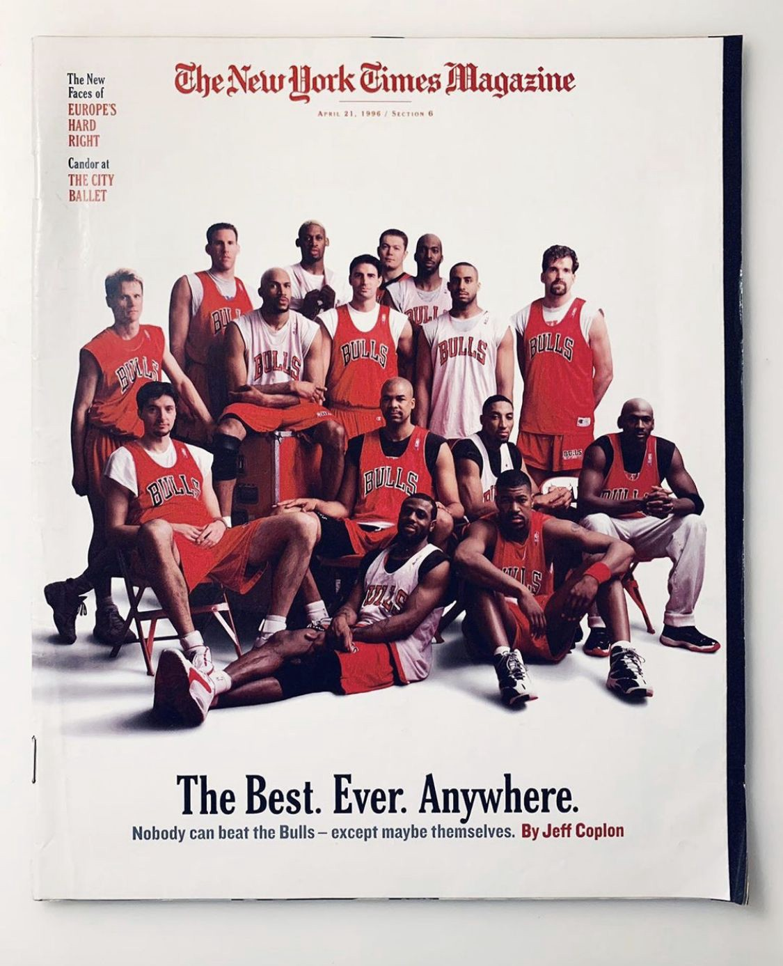 "The New York Times Magazine cover with the Chicago Bulls team. ""The best. Ever. Anywhere."""