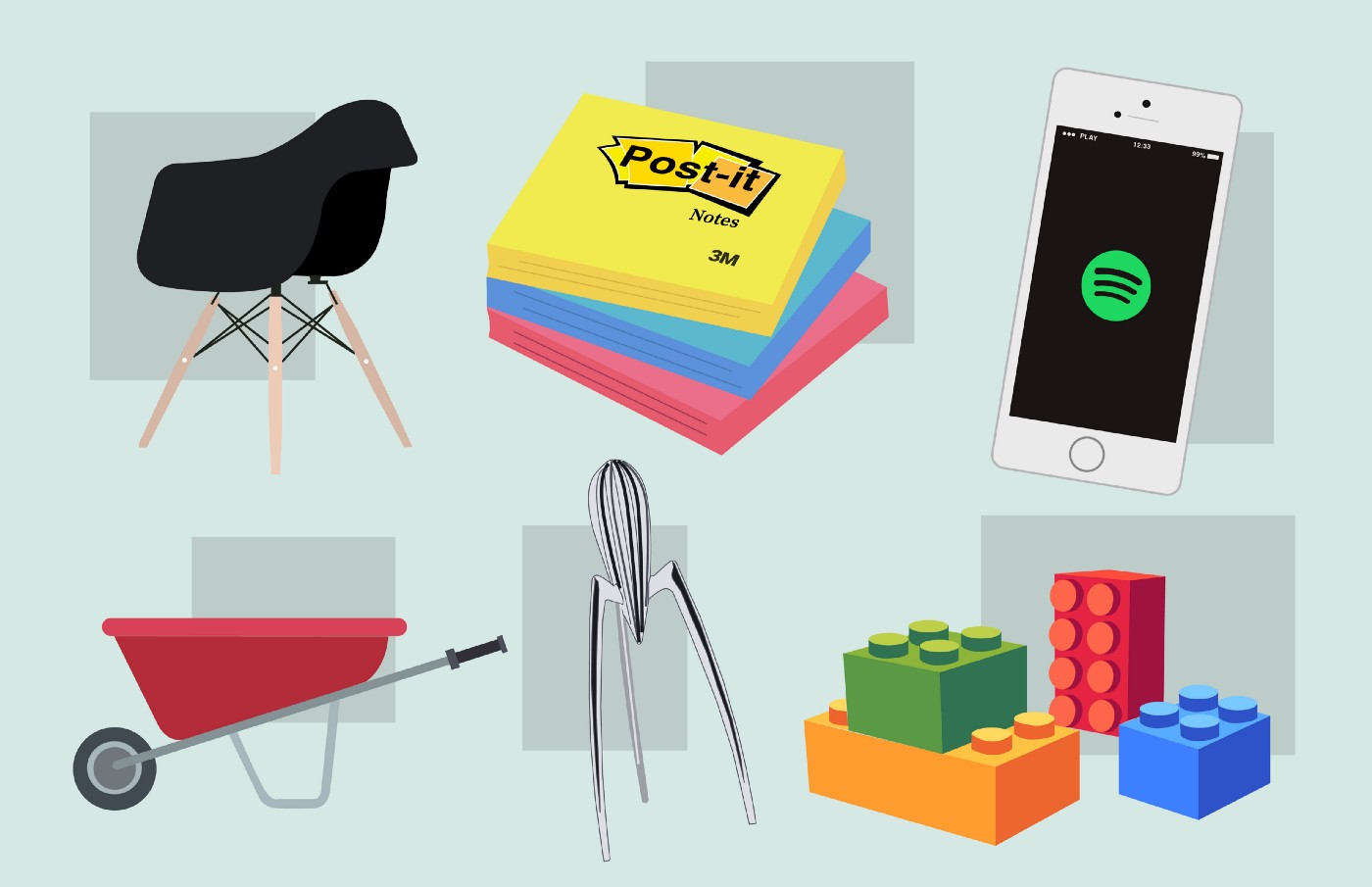 Illustrations of an Eames chair, post-it notes, the Spotify app, a wheelbarrow, the Philippe Starck Alessi Juicy Salif Citrus Squeezer, and a few legos.