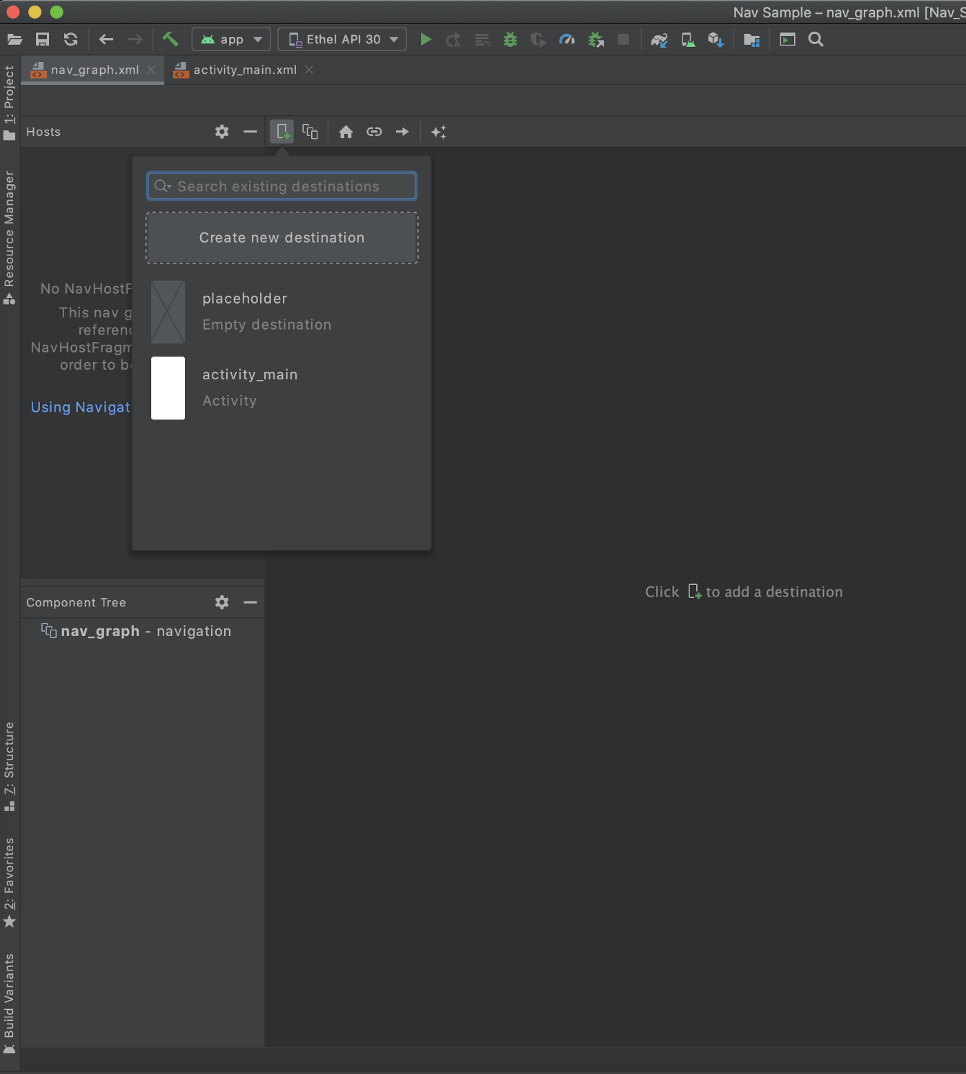 Android Studio navigation graph—creating a new destination using 'Design' view