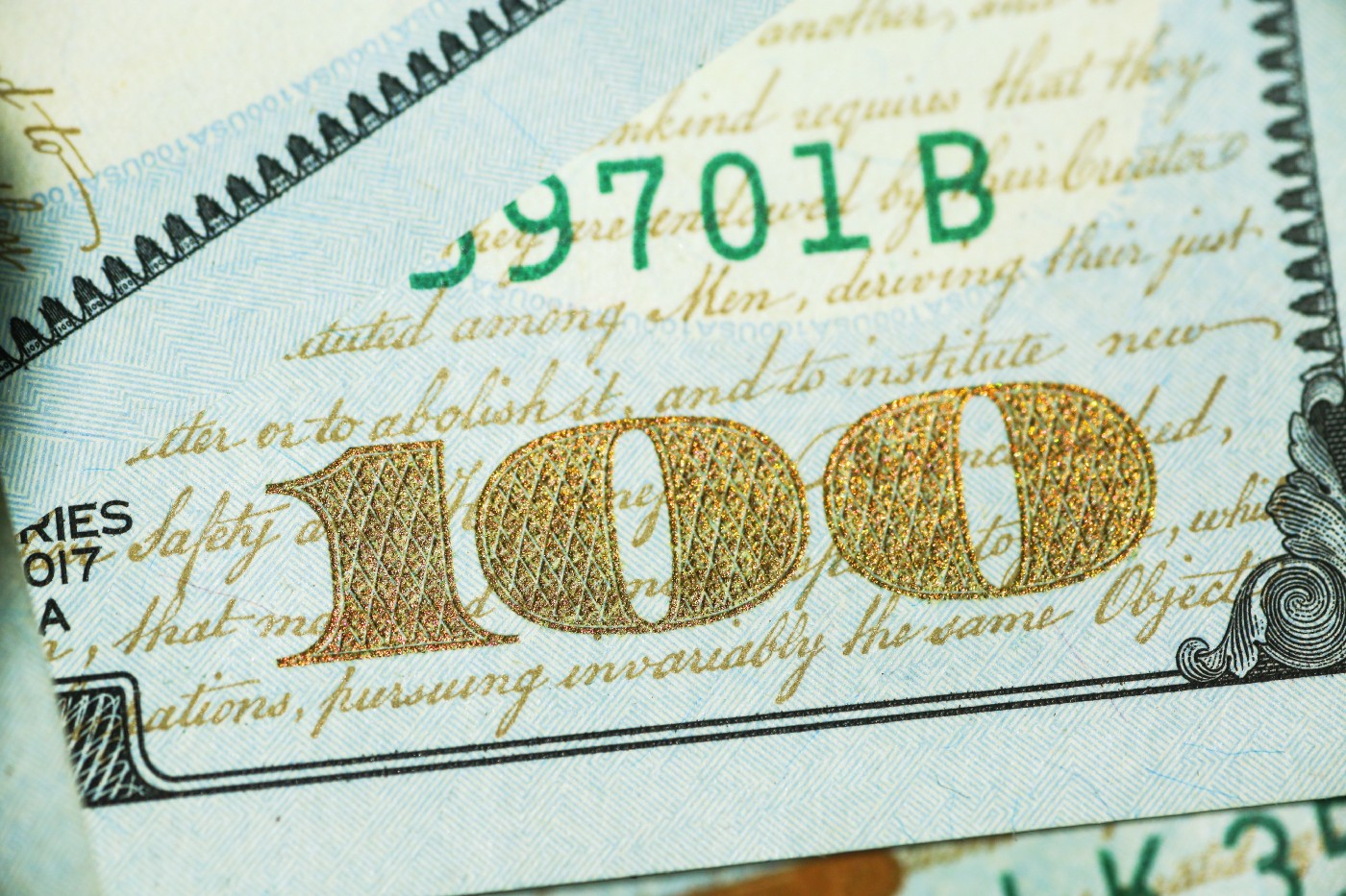 Close-up of 100 dollar bill