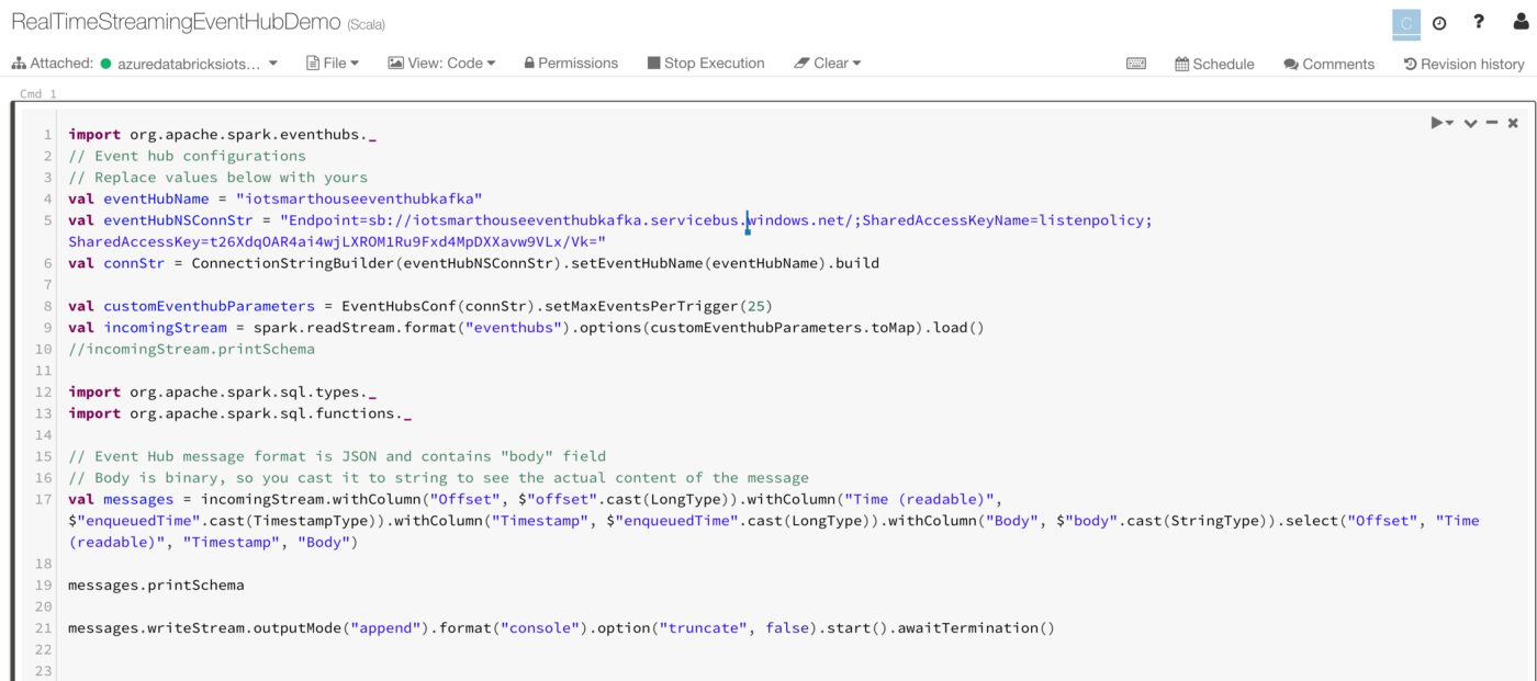 Consuming real-time sensor data using Azure Event Hub and Azure
