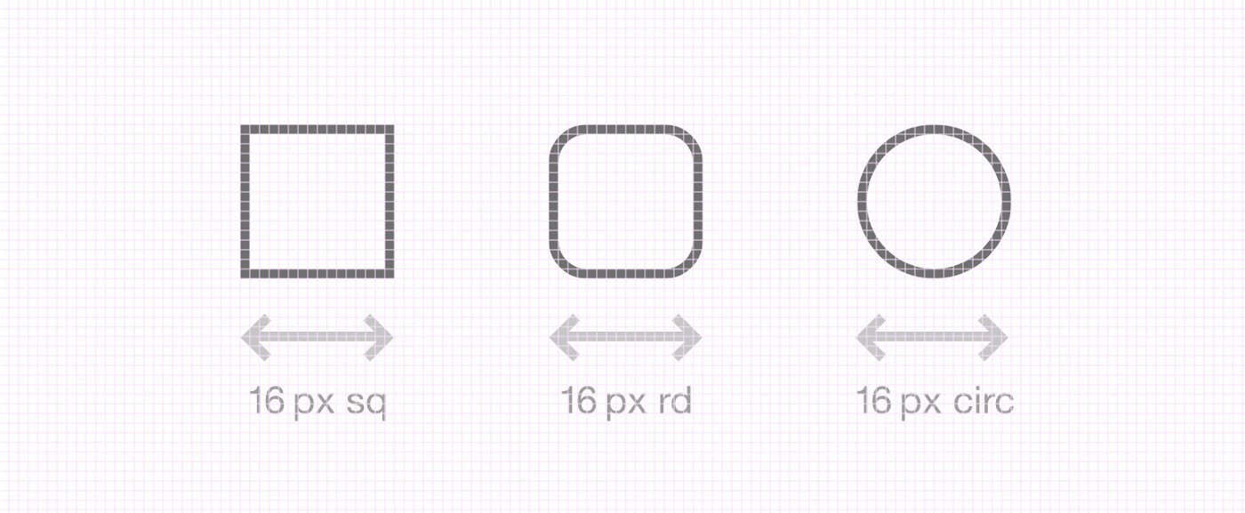 A 1-pixel grid illustrating 16-pixel UI elements. Each element is set 16px x 16px, the square in the center with rounded corner radius, and the square on the right with fully rounded radius creating a circle. Designed with XD.