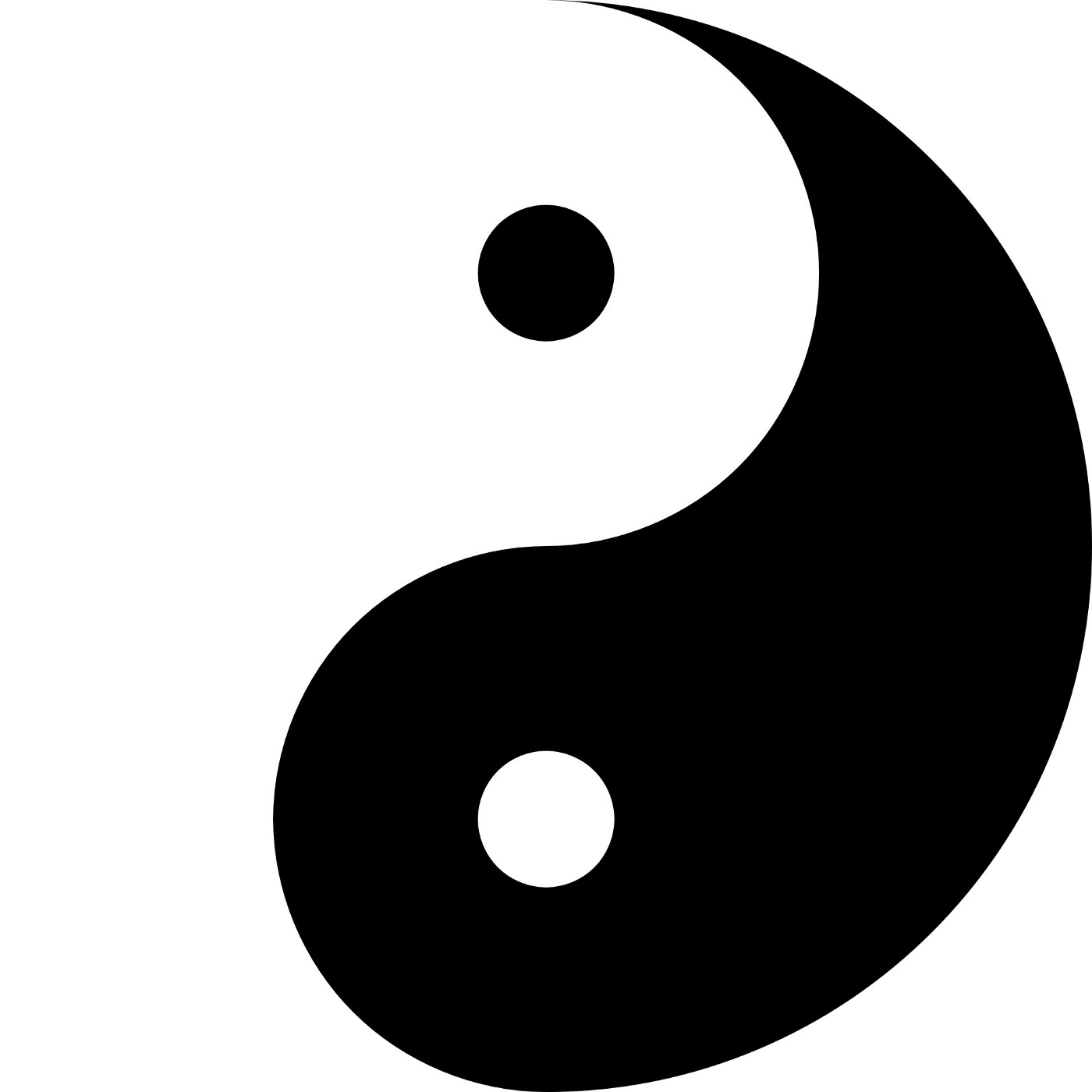 Black and white yin and yang symbol graphic