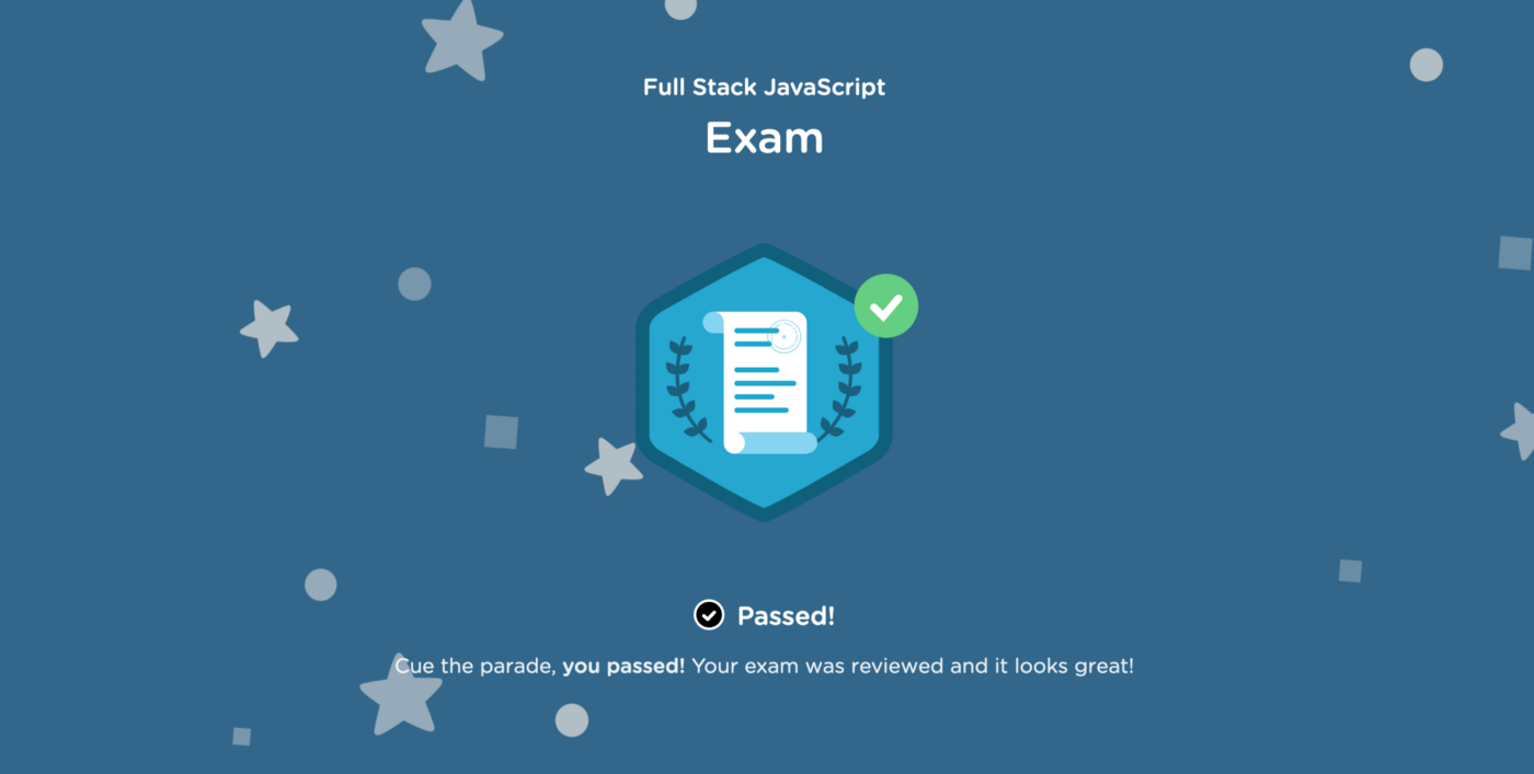 Team Treehouse Full Stack JavaScript final exam results