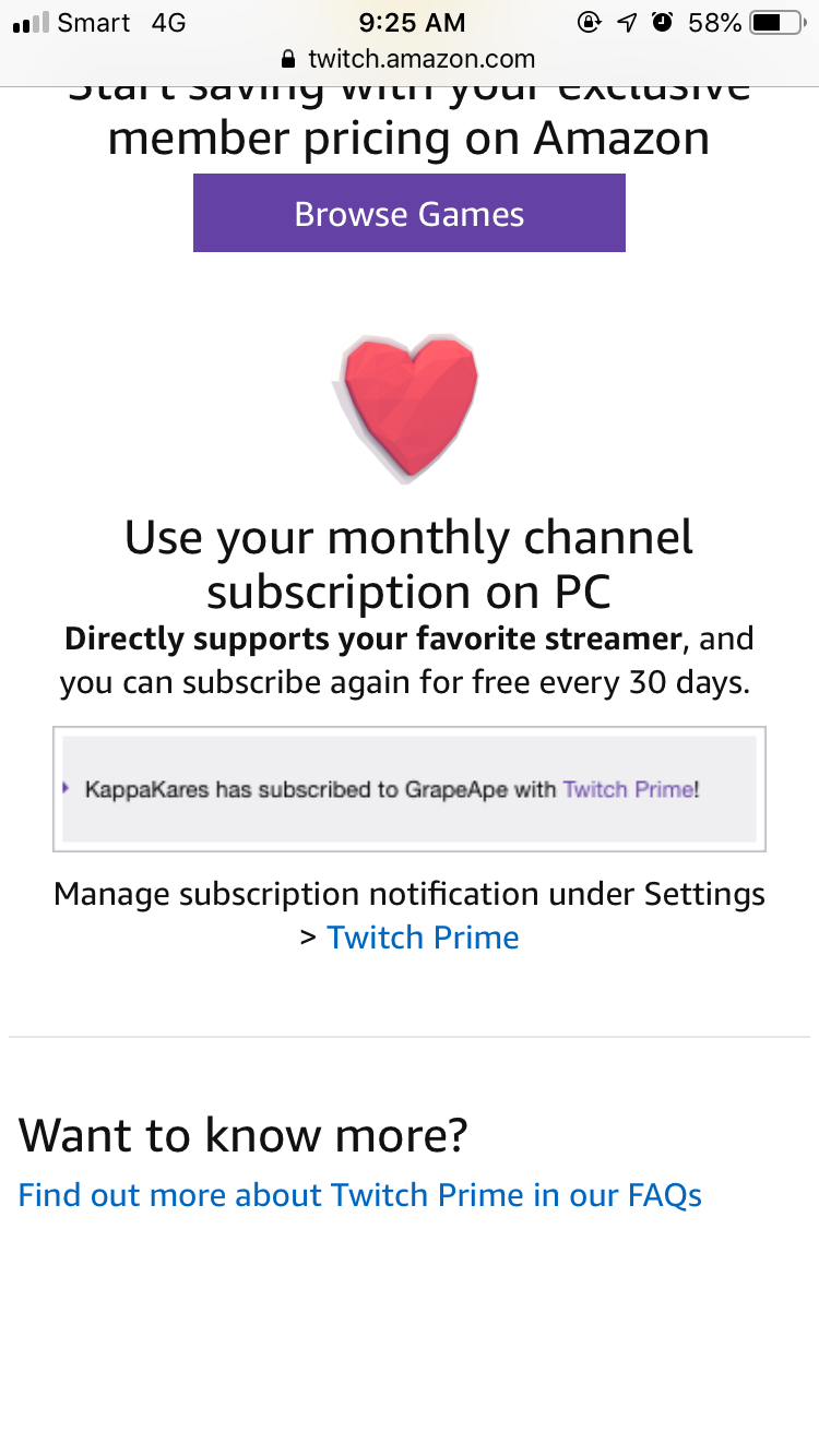 How to subscribe to your favorite twitch channel using amazon prime