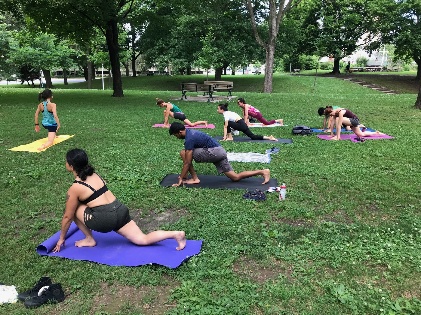 A group of eight people are doing low lunge pose on yoga mats in a park in Toronto. They are in an open, grassy space with trees and benches in the background.