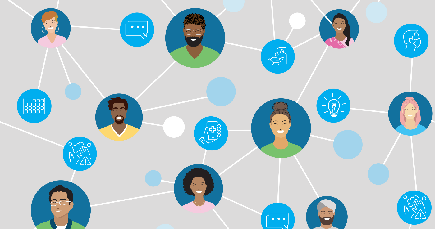 Network of individuals' faces connected by lines and icons representing social media (like a cellphone and a text bubble)