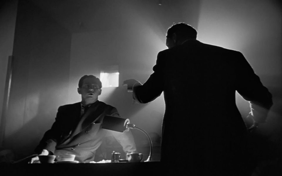 Film still from the projection booth scene in Orson Welles's Citizen Kane.