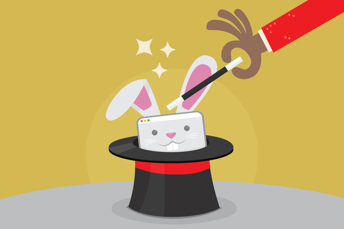A magician taps a top hat with a magic wand, and a tablet bunny rabbit pops it's head out of the hat.