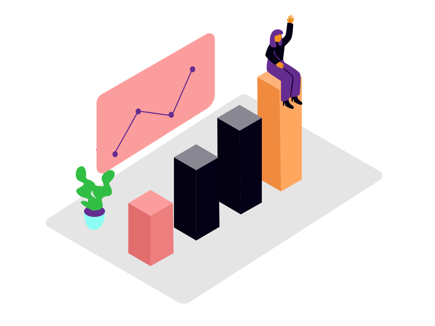 A 3D bar chart with a person sitting on the tallest bar and waving to others