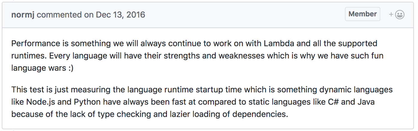Comparing AWS Lambda performance of Node js, Python, Java, C# and Go