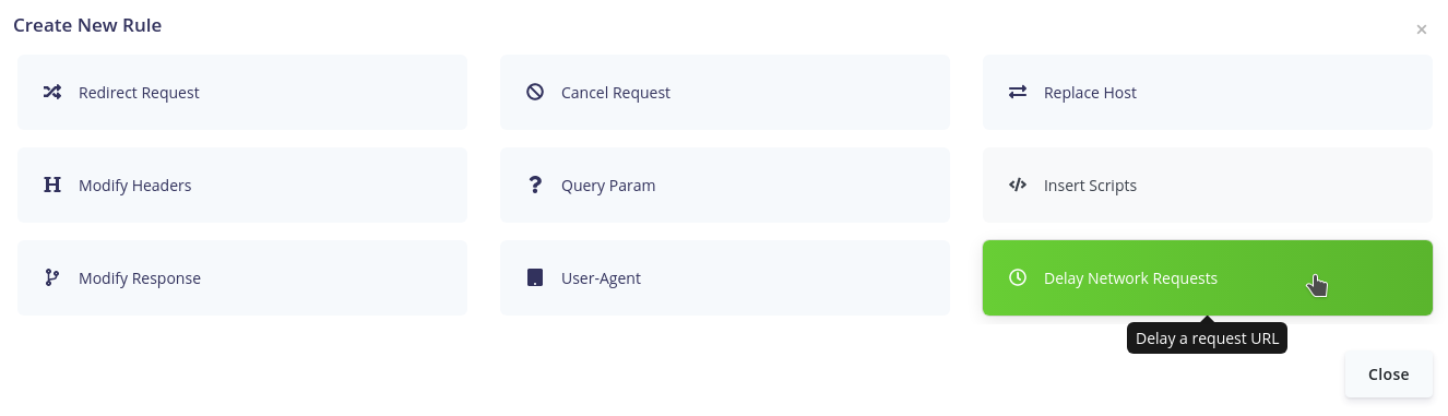 Selecting Delay rule in Requestly App