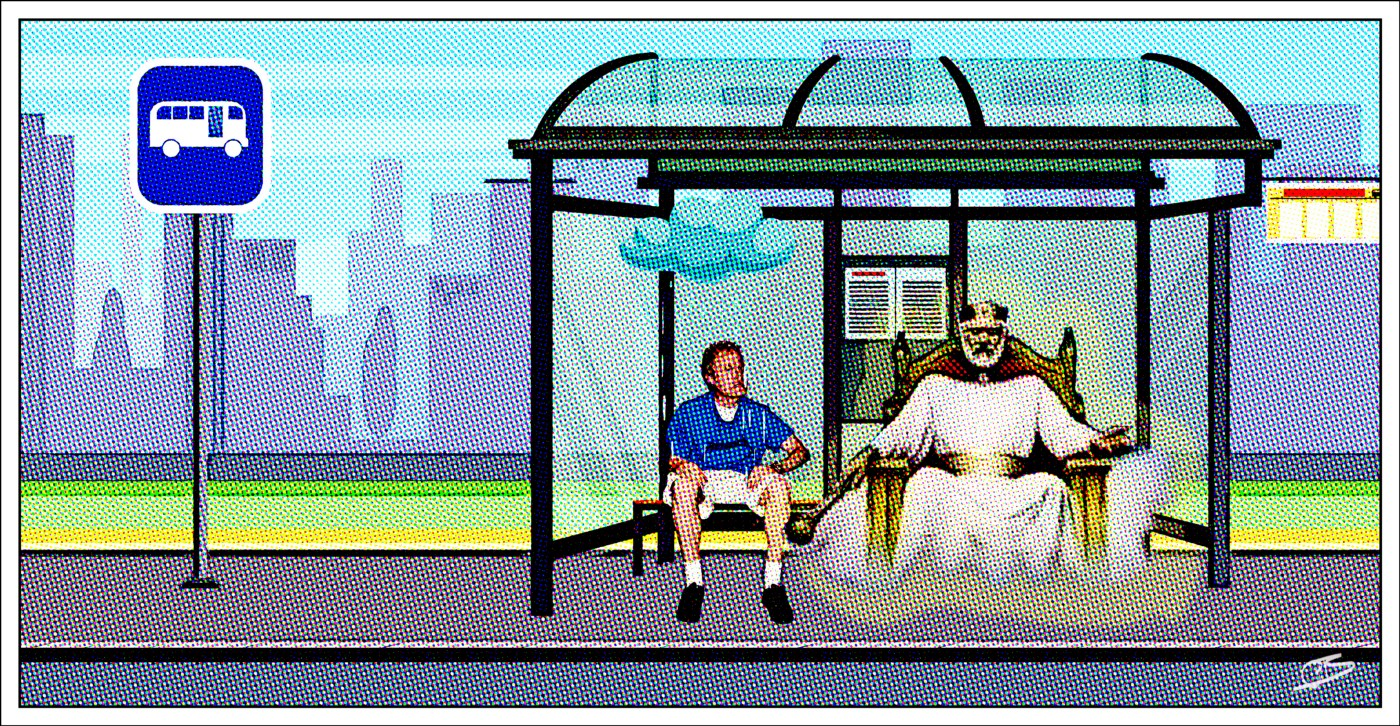 Beavis lookalike sits with God at bus stop