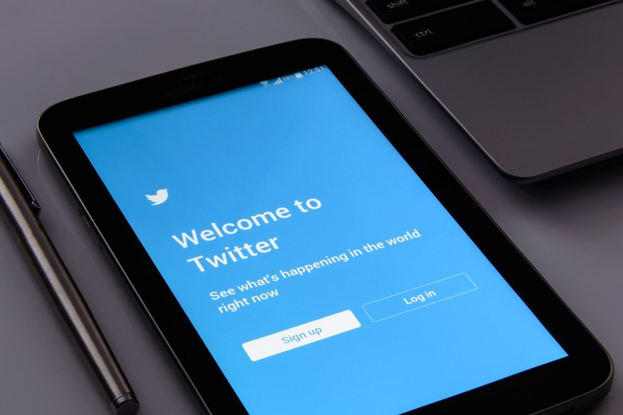 A tablet with a Twitter sign-up screen