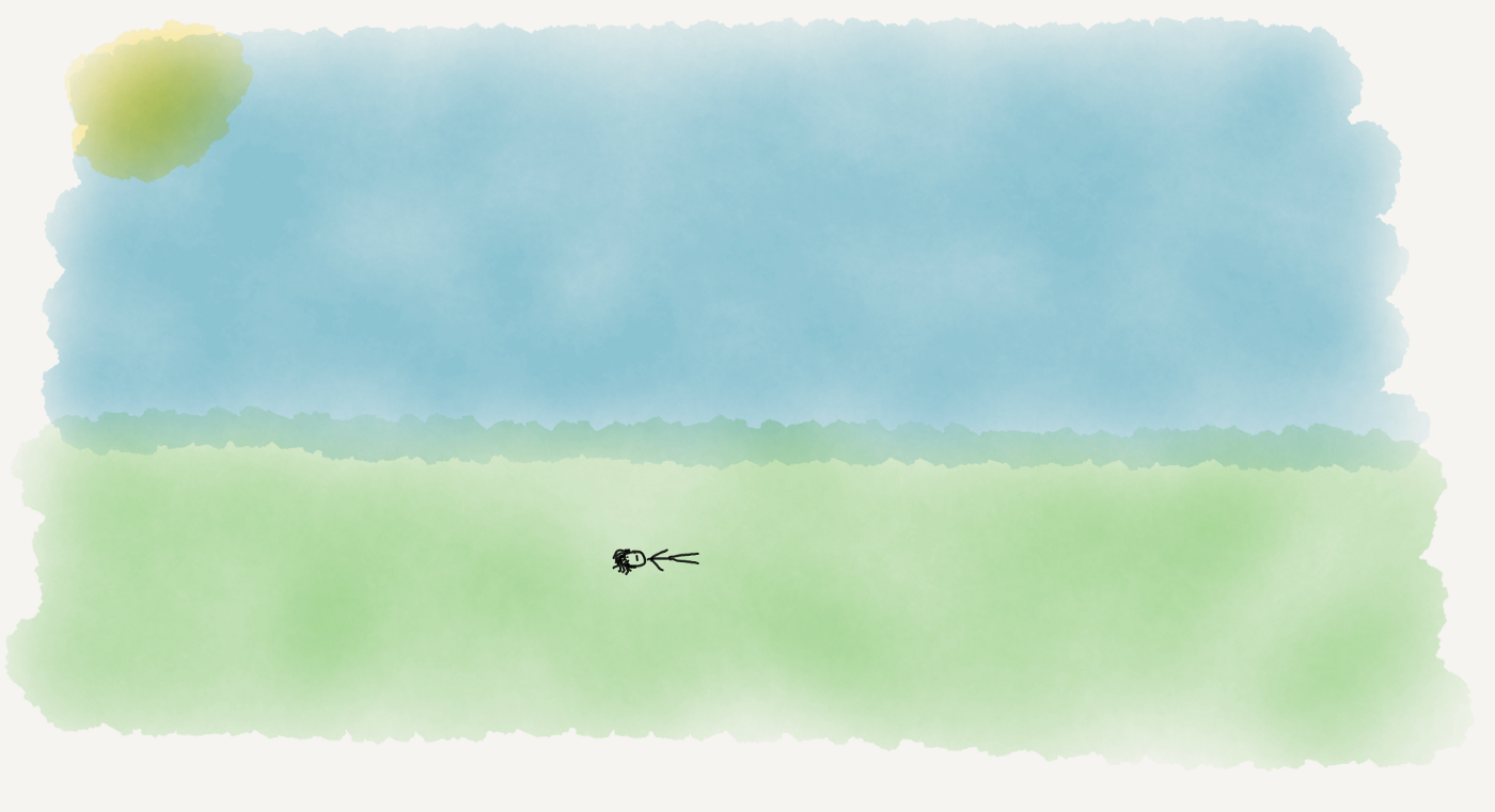 A stick figure laying alone on a large grassy field under a blue sky, all in watercolor.
