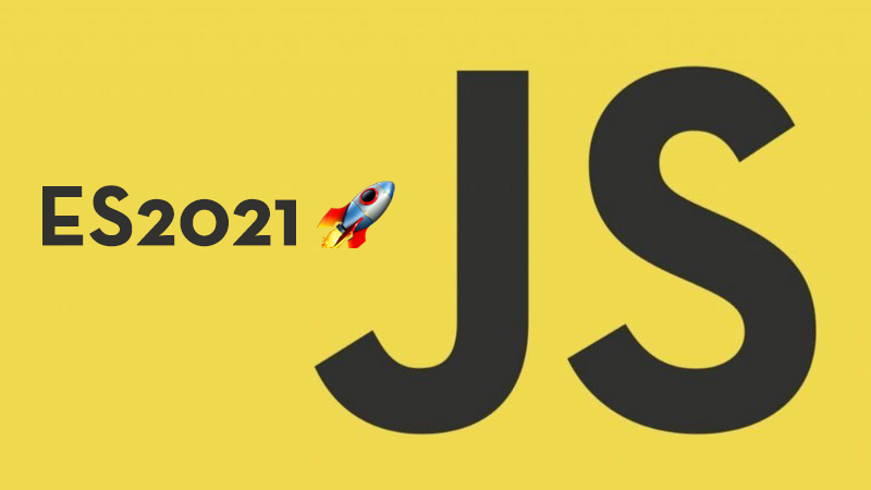 """""""JS"""" set to yellow background with launch emoji"""