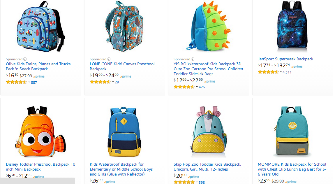 b51a19c00e2fe3 There are many kinds of kid backpack on Amazon.com, mainly cartoon style.  The price ranges from USD 12 to USD 30. One product gets 887 comments at  most, ...
