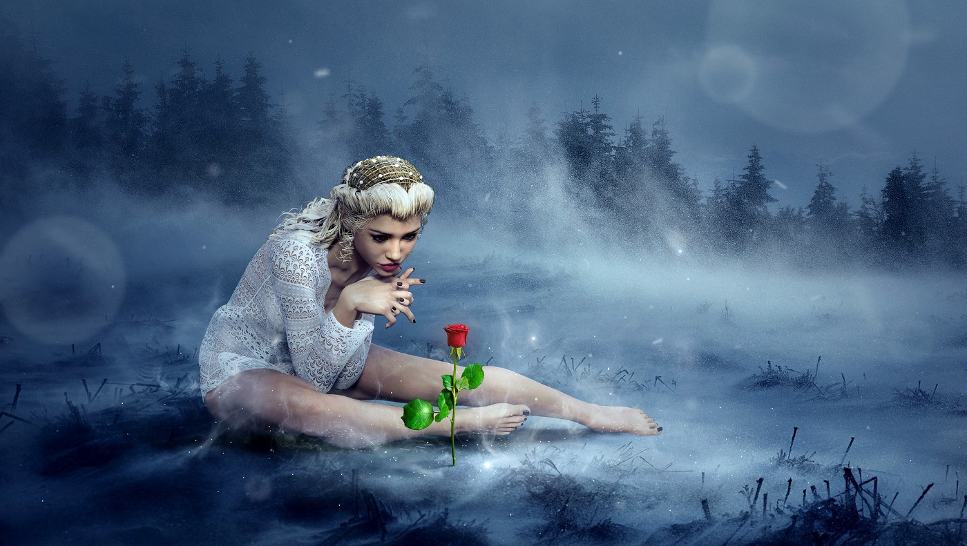 Fantasy art of woman looking at a stalk of rose growing out of the ground