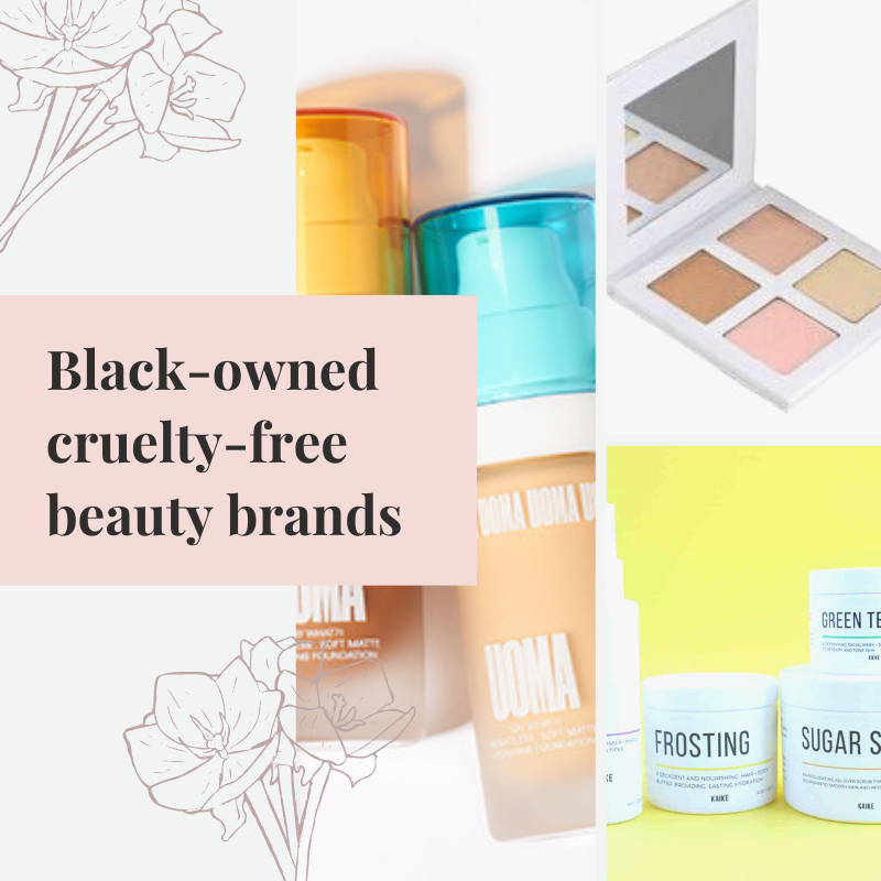 Colorful poster-style collage with black-owned cruelty-free beauty brands written in black on a baby oink background. Decorative brown flowers to the left on a white background. Three images of different make up and skincare brands. All brightly colored and minimal design.