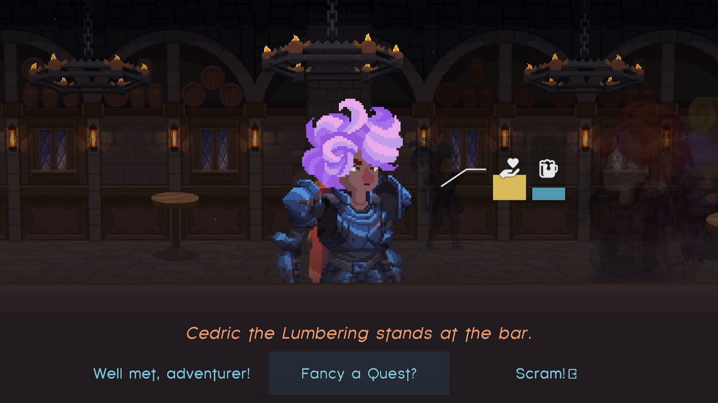 """A purple-haired hero stands at the bar, with dialogue options shown: """"Greetings"""", """"Fancy a Quest?"""", and """"Scram!"""""""