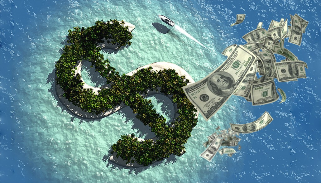 Image showing a Dollar symbol which looks like an aerial view of an offshore island