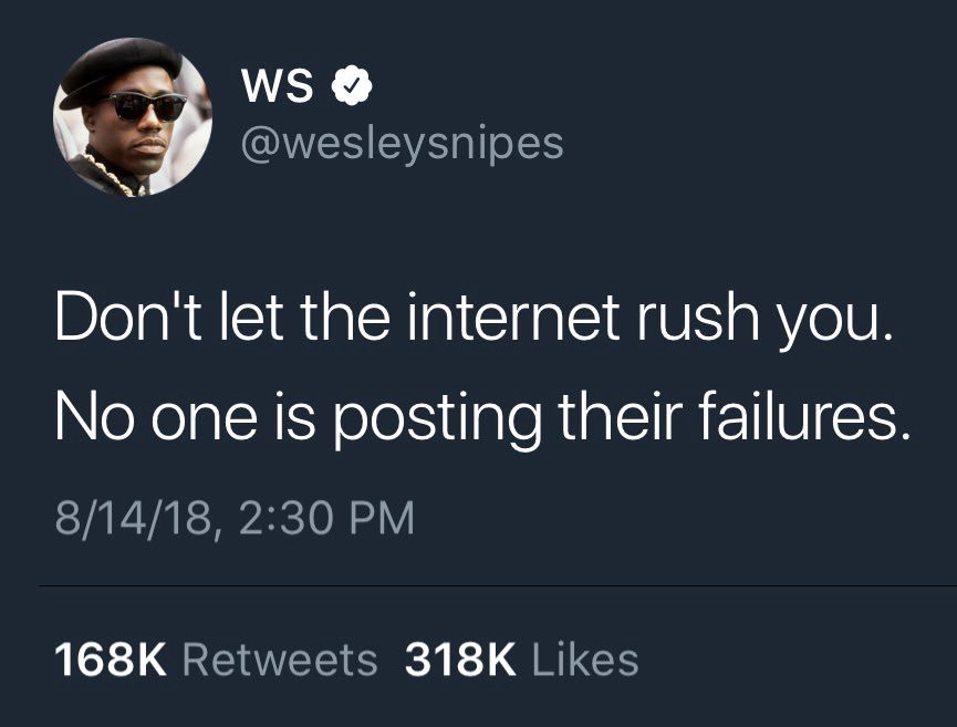 """Tweet by Wesley Snipes (Actor): """"Don't let the internet rush you. No one is posting their failures""""."""