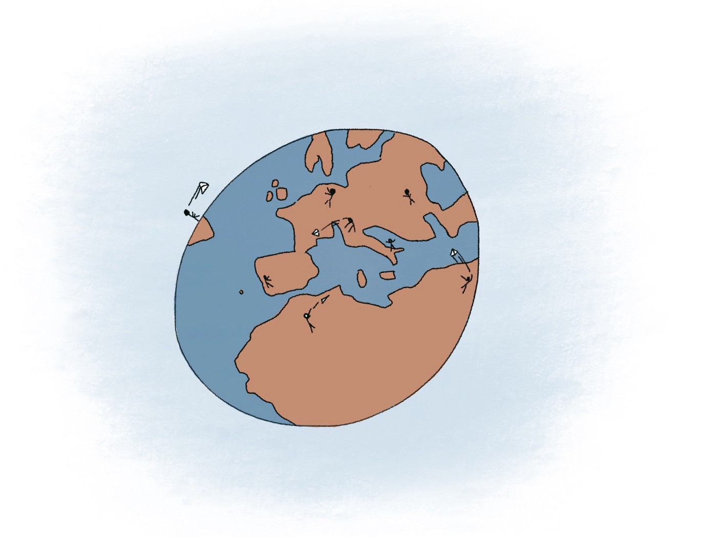 A cartoon planet Earth on which several people are throwing paper airplanes back and forth to each other.
