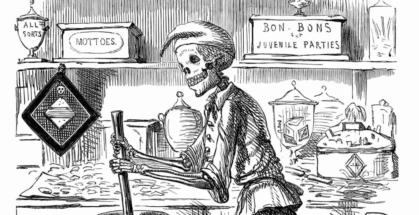 A drawing of a skeleton stirring a pot with candy on the counter behind him