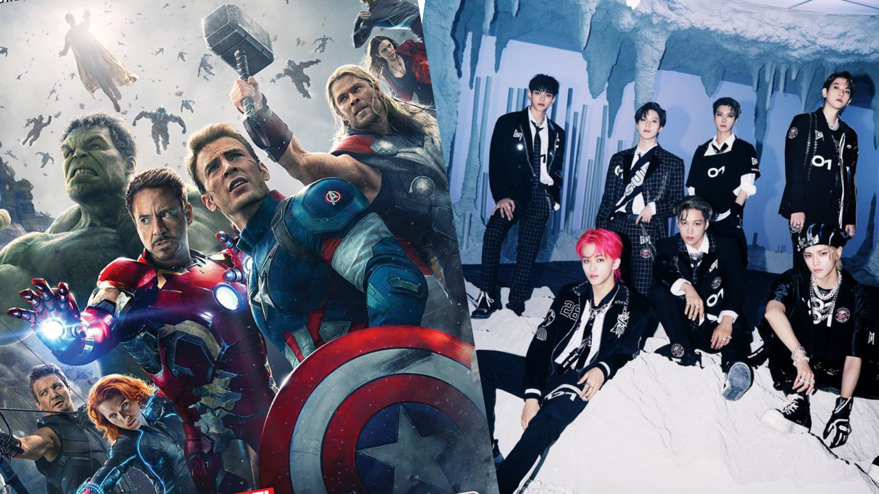 We see the poster for 'Avengers: Age of Ultron' and a picture of all the members of K-Pop group SuperM side-by-side.