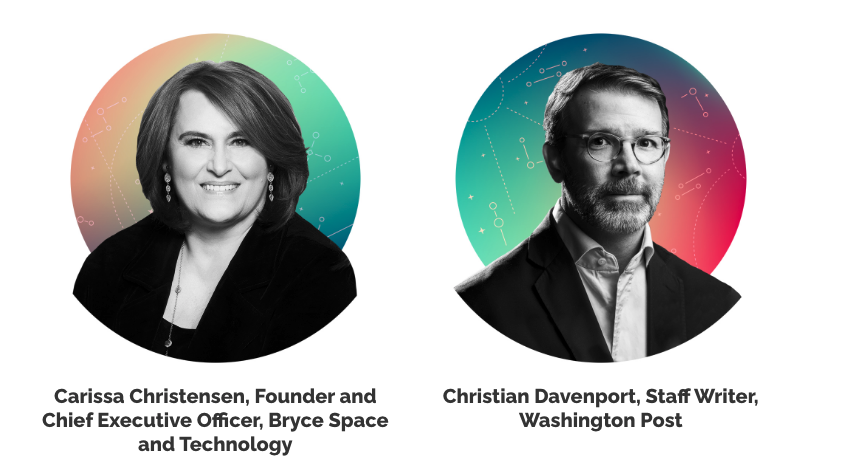Portraits of Carissa Christensen of Bryce Space, and Christian Davenport of the Washington Post