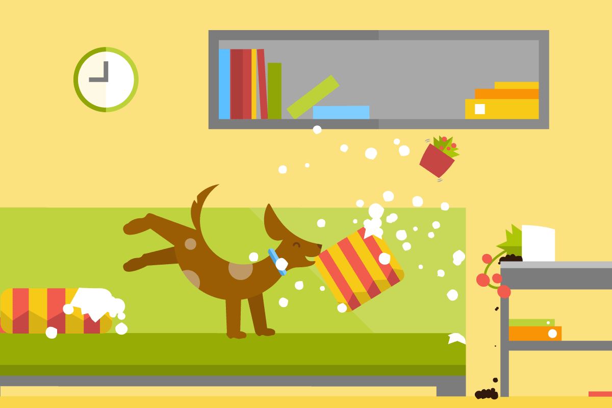 A cartoon puppy ripping up pillows and knocking over plants.