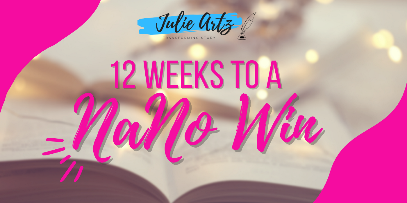 """Book Coach Julie Artz's FREE """"12 Weeks to a NaNo Win"""" email course begins September 8."""
