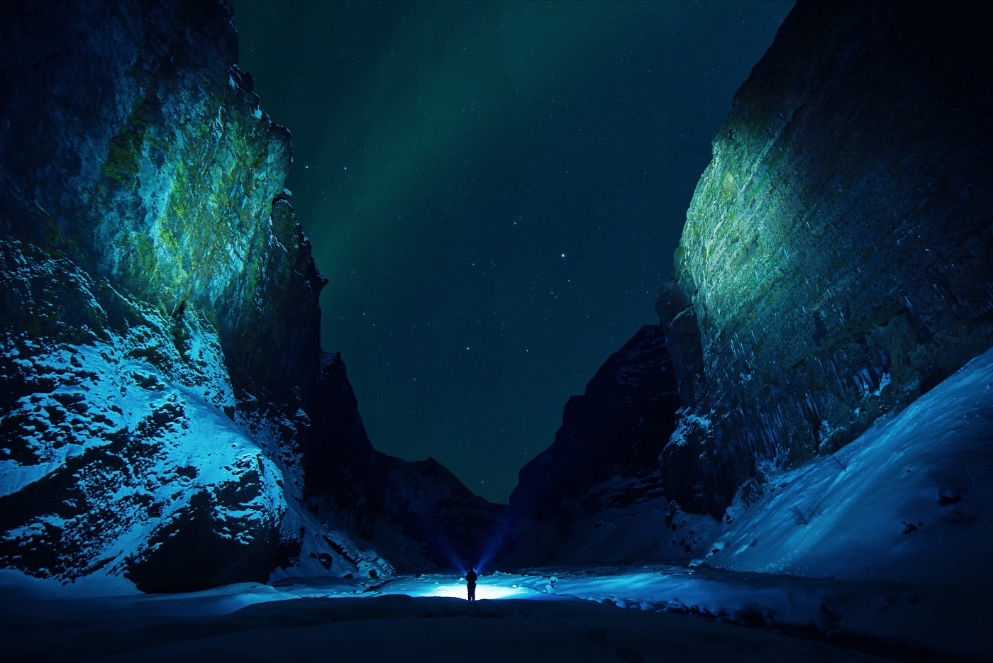 Northern lights in Stakkholtsgja canyon, Iceland.