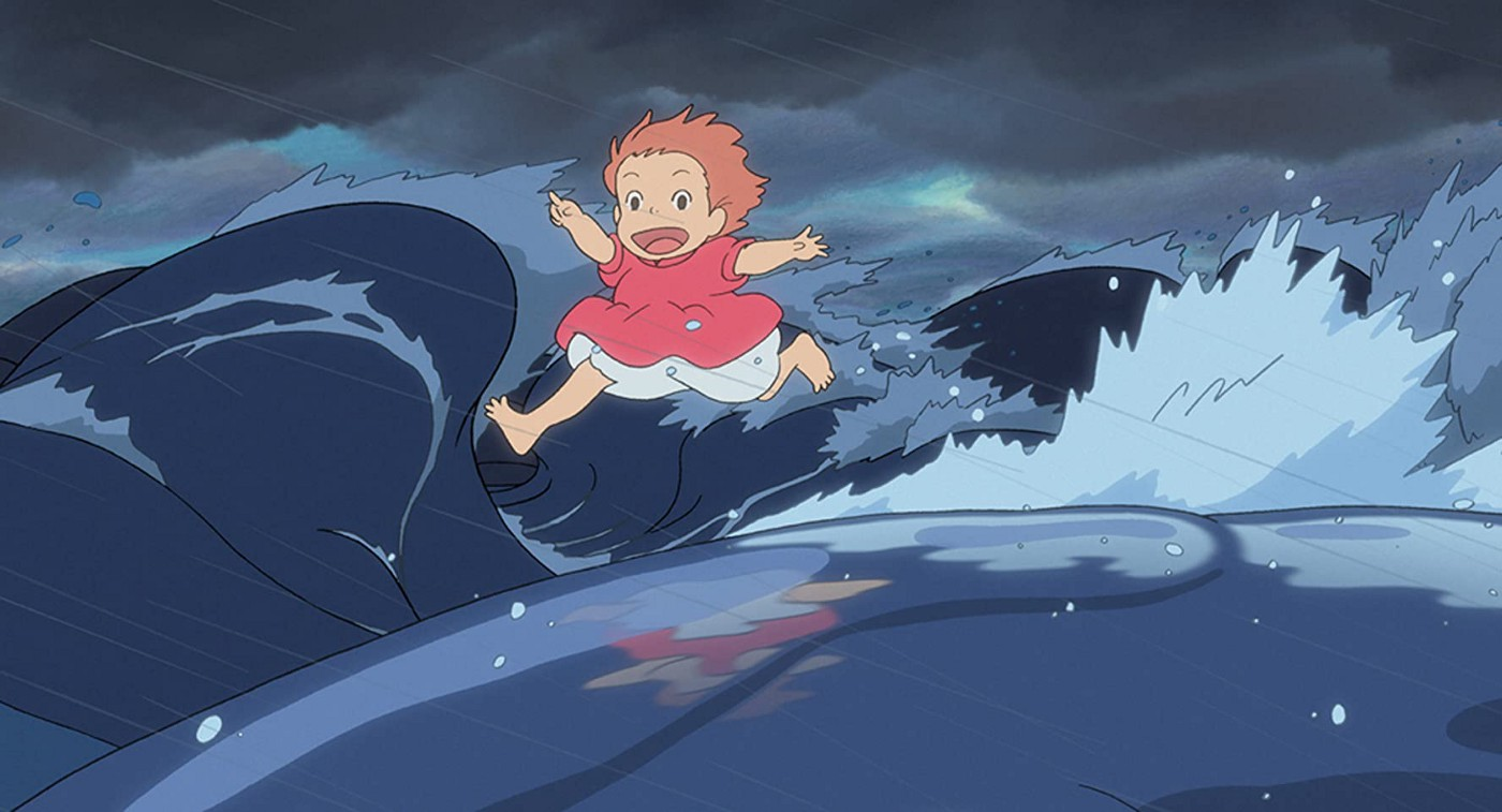 The main character of Ponyo, a red-haired little girl in a pink dress is excitedly running on the waves of a wild tsunami.