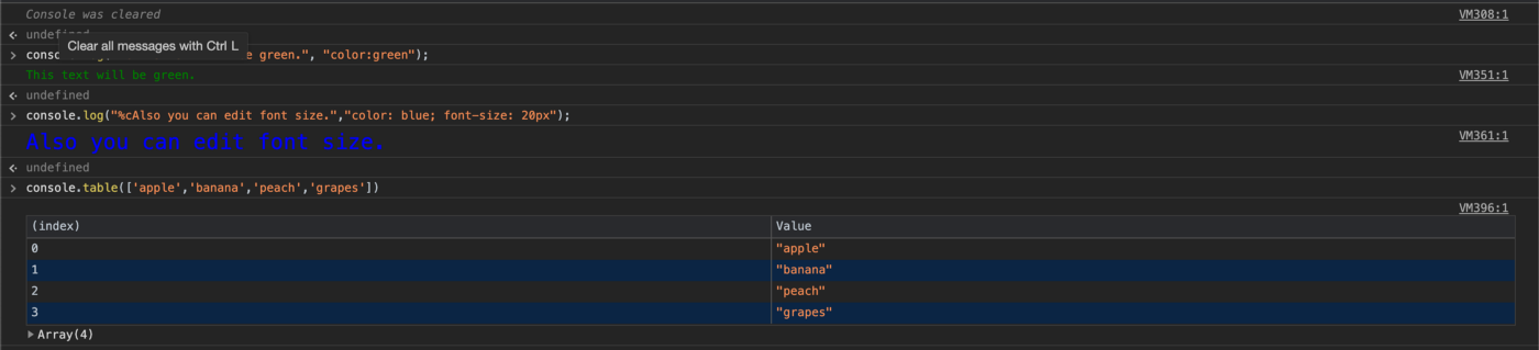 Dev Tools Console Styling
