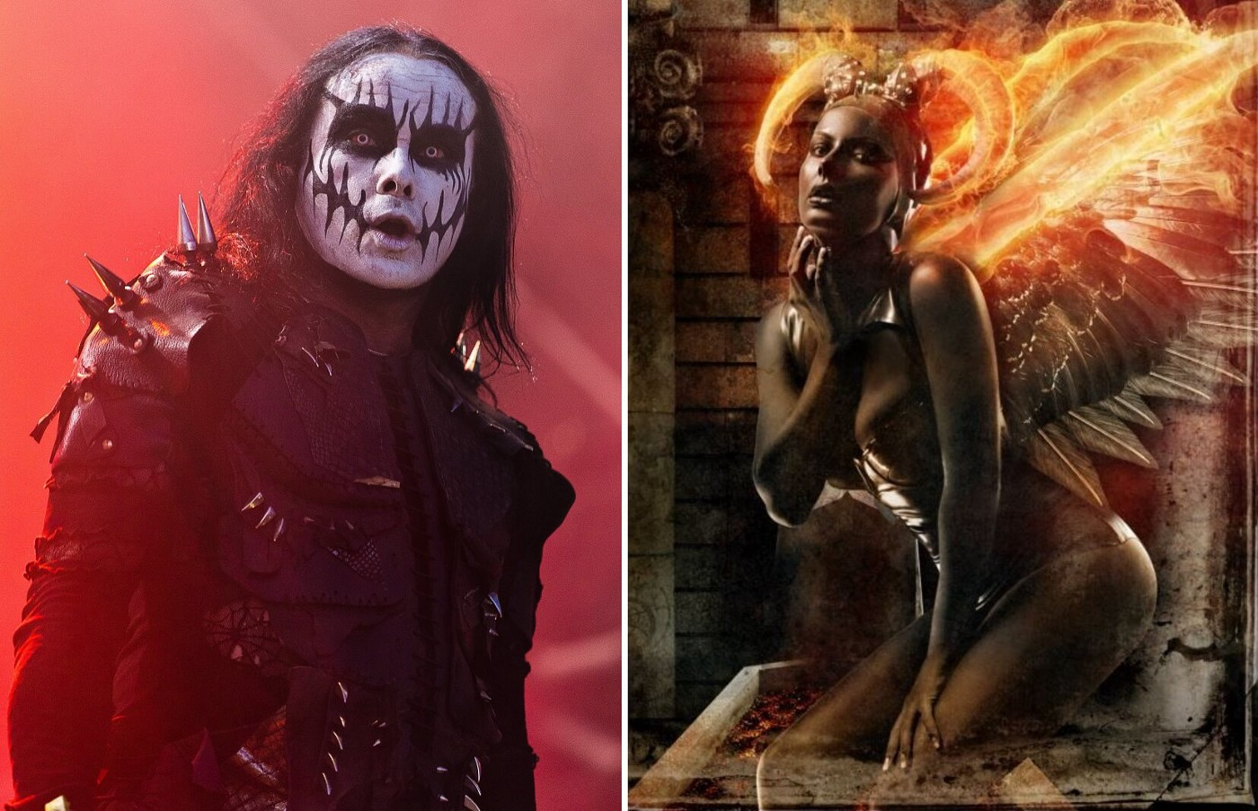 Dani Filth from Cradle of Filth on the left against red background on stage. Artwork from The Manticore and Other Horrors on the left showing a female figure with fiery horns and wings.