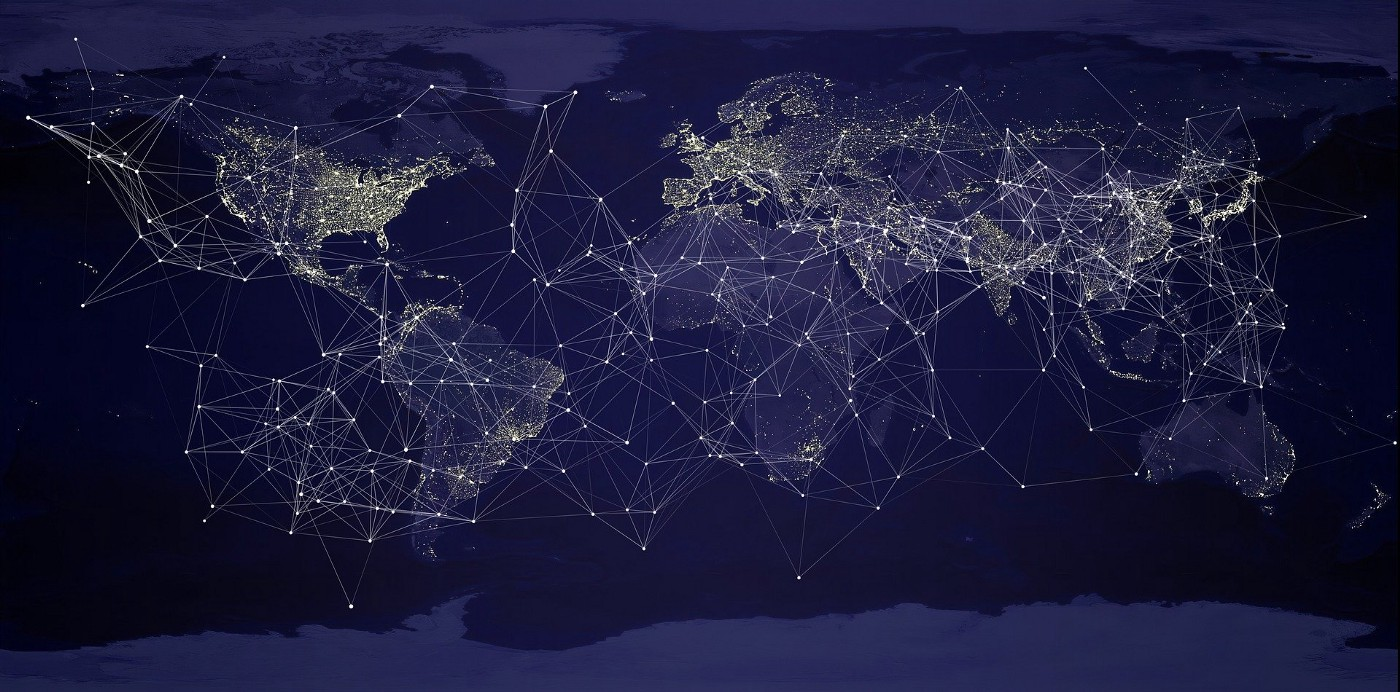 Map of the world with a network overlay