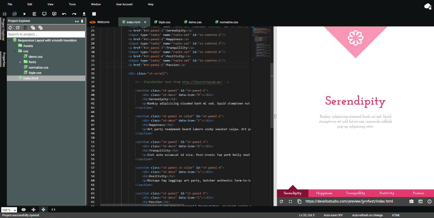 An overview of how Devello Studio editor looks like