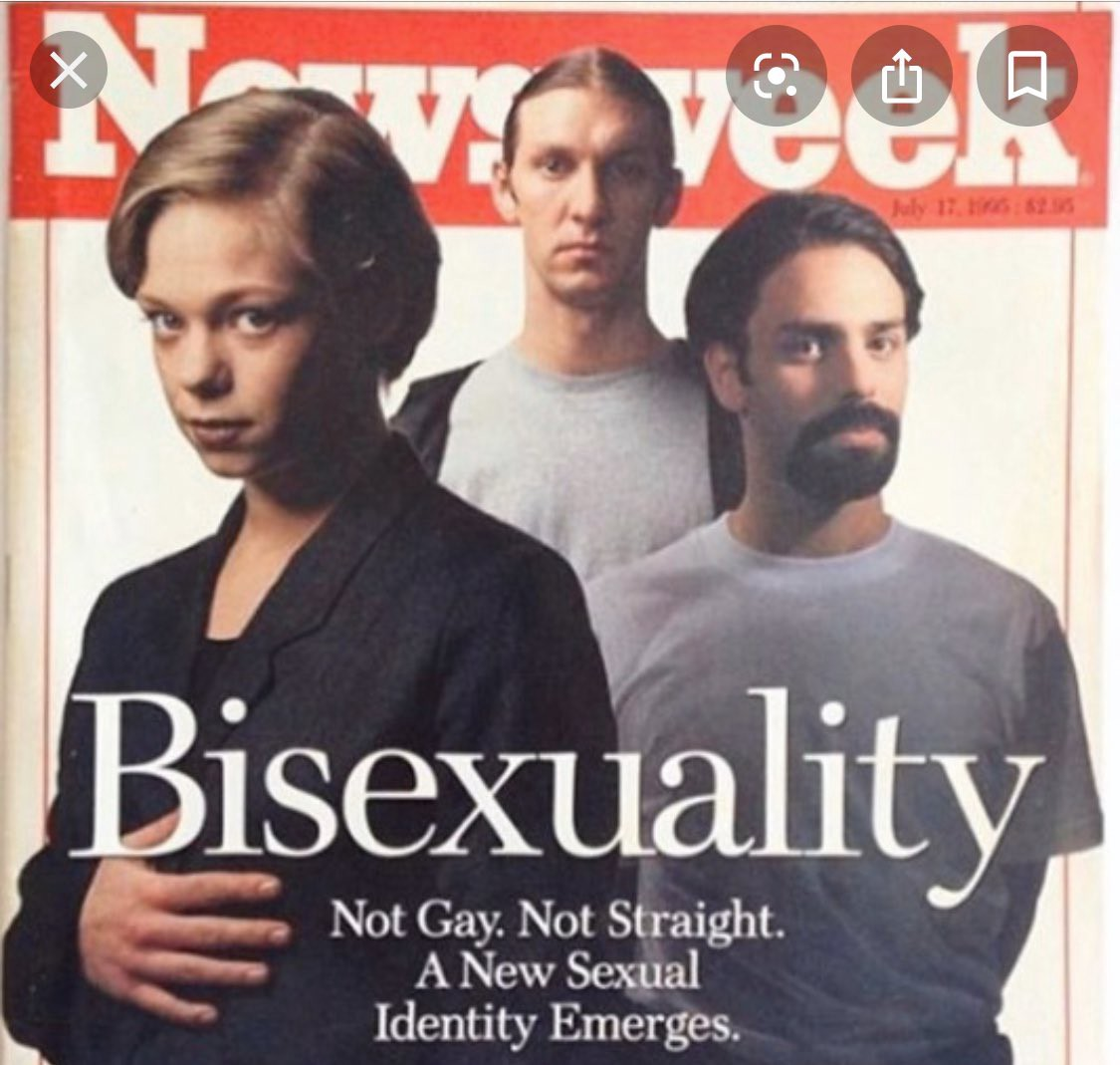"""Newsweek cover from July 17, 1995 stating """"Bisexuality: Not Gay. Not Straight. A New Sexual Identity Emerges."""""""