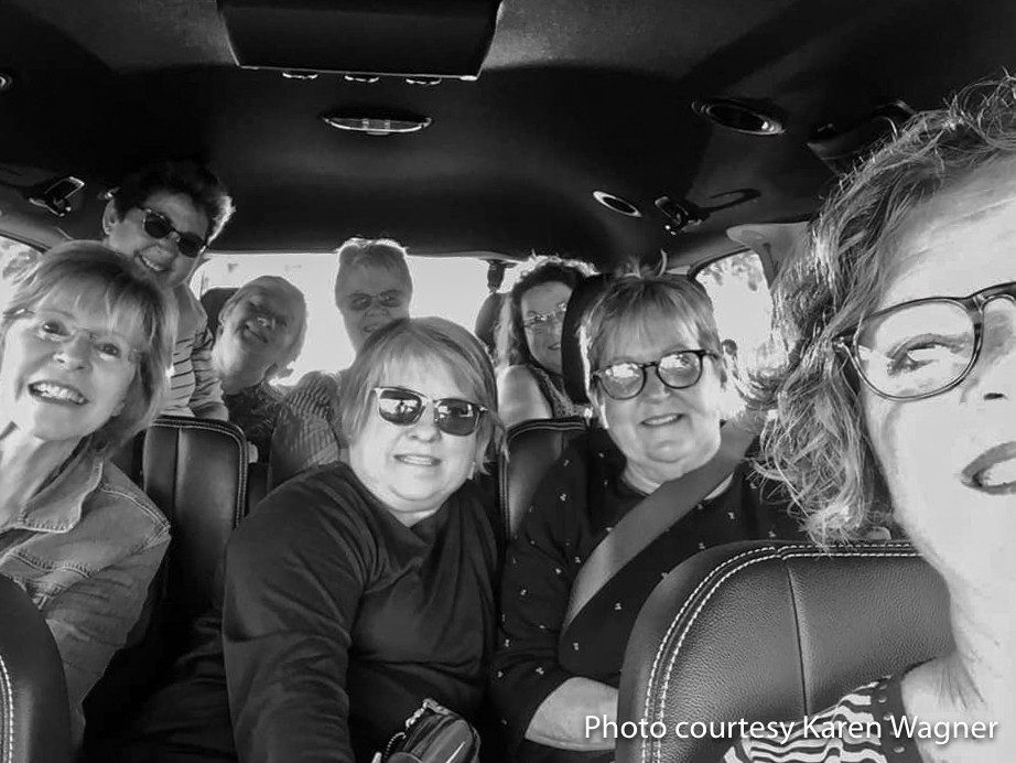 Clown car with all nine retreaters when vehicle transportation hit a snag.