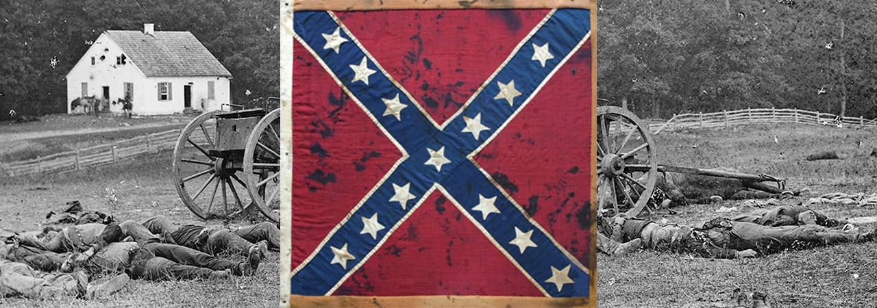 Battle flag of the 3rd Arkansas, Army of Northern Virginia, overlaid on a photo of the war dead at Antietam, American Civil War