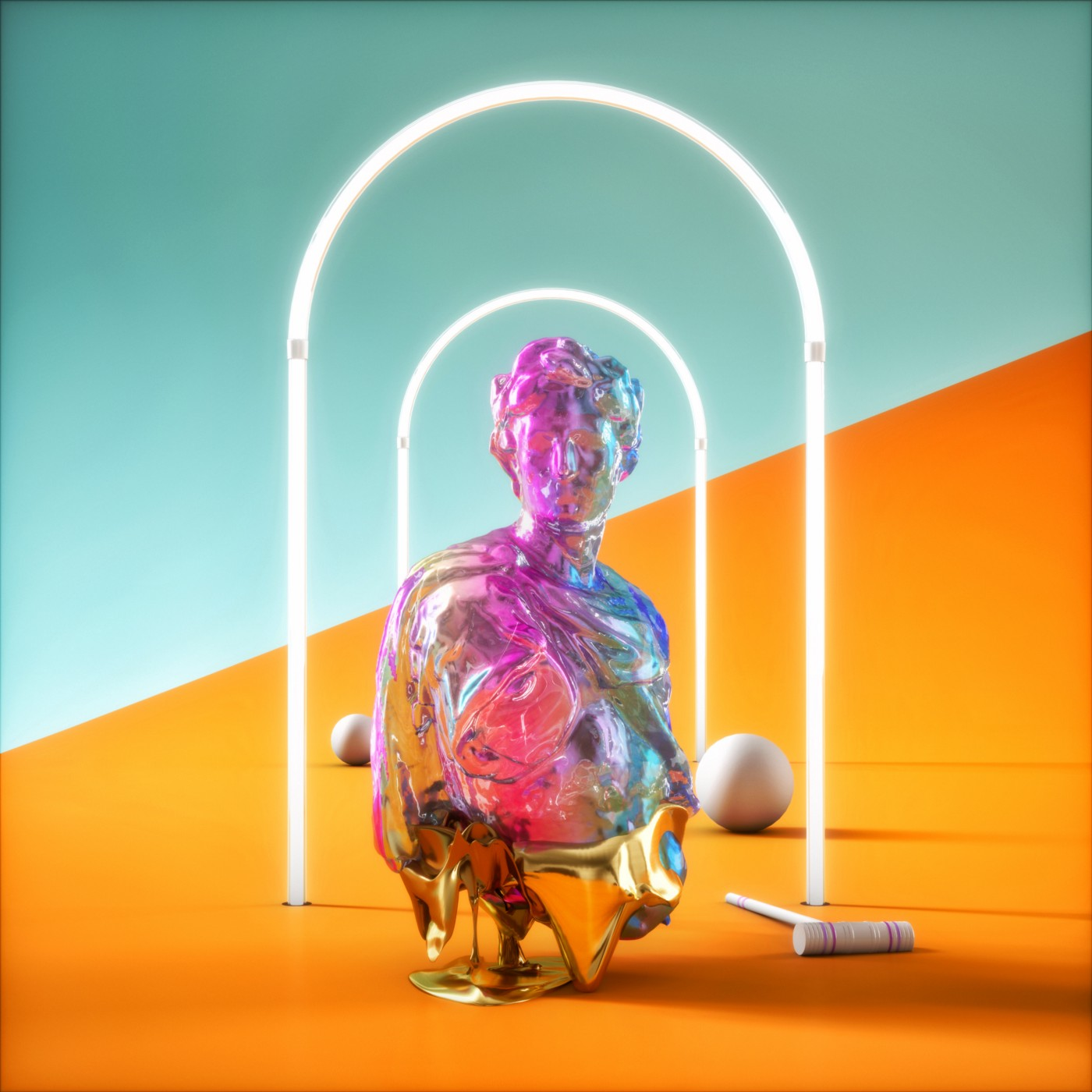 A computer futuristic-y colorful rendering of a crystallized statue, croquet hoops, a couple croquet balls, and a mallet.