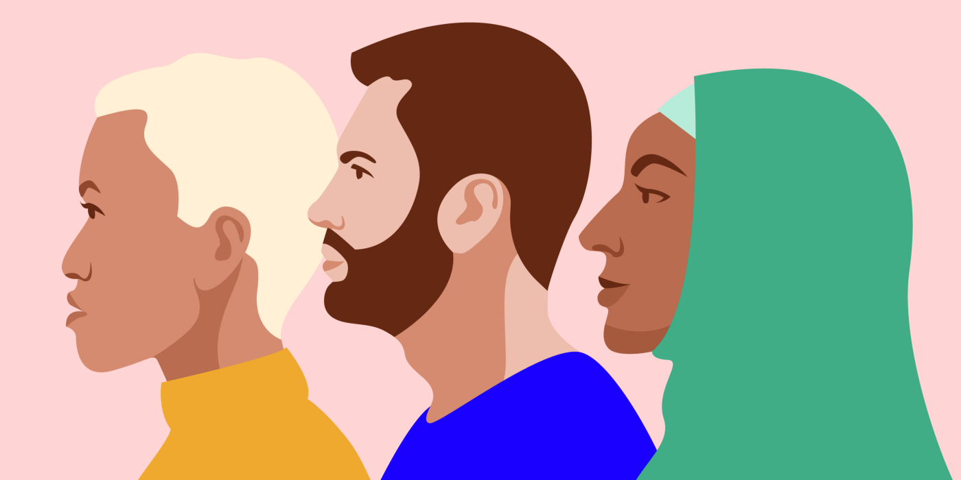 An illustration of three people in profile view. From left to right, there's a medium-skinned person with short white hair, a light-skinned person with dark brown hair and a beard, and a dark-skinned person wearing a green hijab.